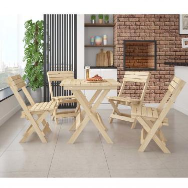 Conjunto Mesa Dobrável 4 Cadeiras Espresso Móveis Madeira Maciça