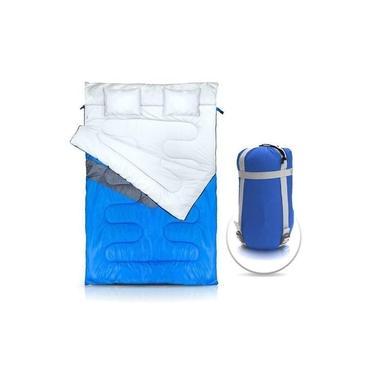 Imagem de Saco de dormir duplo para casal -5ºC a 5ºC com 2 travesseiros incorporados - Kuple Azul - Nautika
