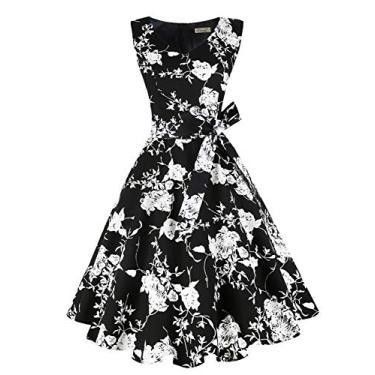 Dressever Vestido de festa sem mangas vintage dos anos 50 e 60, Flor branca e preta, XXL