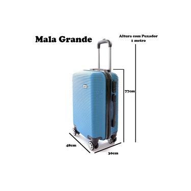 Mala De Viagem Grande 77x48x30 Em Abs C/ Rodinhas 360º Azul