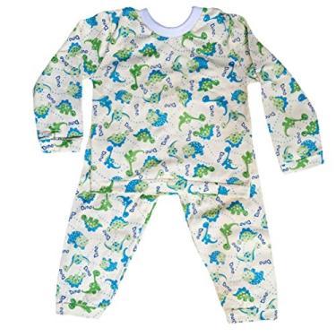 Pijama Infantil Unissex Tamanho:M - 12 a 18 meses;Cor:Amarelo - Dino