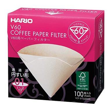 Filtro De Papel Natural Para Coador De Café V60, Tamanho 01, Caixa Com 100 Hario 0 Marrom