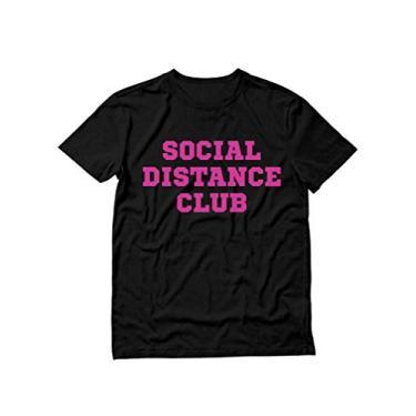 Imagem de Camiseta Social Distance Club divertida introduverta quarentena masculina e feminina, Estampa rosa preta, XL