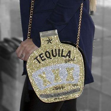Bolsa Passeio Tequila Transversal dourada e prata com brilho – Amo Bolsas