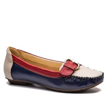 Mocassim Feminino 1303 em Couro Petroleo/Neve/Framboesa Doctor Shoes-Anil-36
