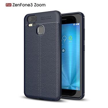 Capa para Asus Zenfone 3 Zoom ZE553KL com estampa Litchi e capa traseira ultrafina TPU marinho