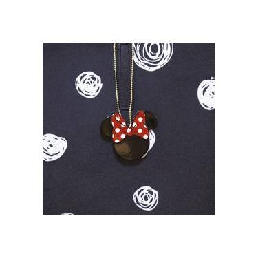 Bolsa Preta Detalhes Brancos Minnie Disney