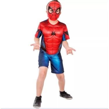 Fantasia Infantil Homem Aranha Longe De Casa Spider Cosplay Oficial Marvel + Máscara Luxo Spider Man