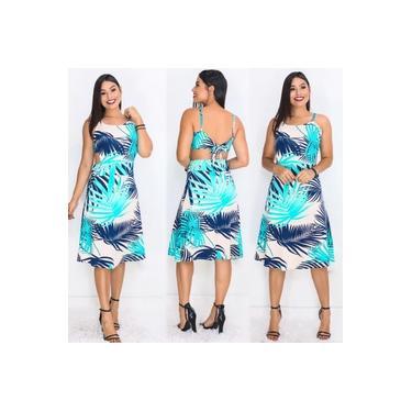 Vestido Mid Recorte Nas Costas Estampado Creme/azul
