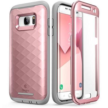 Clayco Série Hera, Capa Protetora para Samsung Galaxy S7 Edge (Versão 2016), Capa Rígida de Corpo Inteiro, com Protetor de Tela (Ouro rosa)