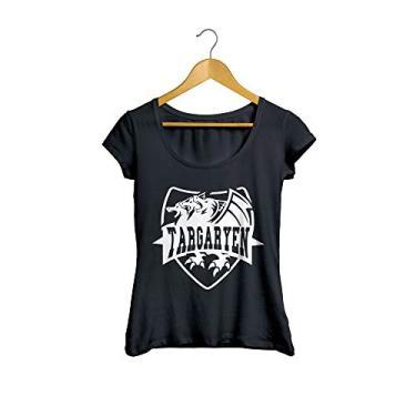 Camiseta Baby Look Guerra dos Tronos Flag 02 Feminino Preto Tamanho:G
