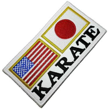 Karate Bandeira Eua Japão Patch Bordado Termo Adesivo