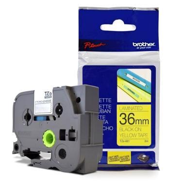 Fita Laminada p/ Rotulador Brother TZe-661 Preto Sobre Amarelo 36mm