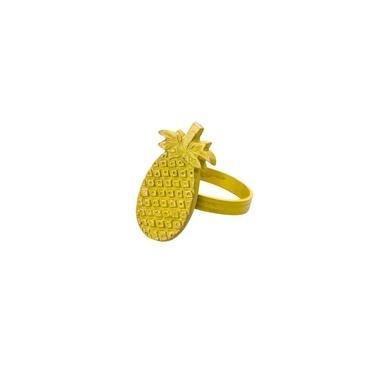 Imagem de Jogo 4 Anéis Para Guardanapos De Latão Abacaxi Amarelo Lyor