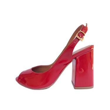 Peep Toe Chanel Vermelho Verniz Salto Grosso Retro 9 cm (35)
