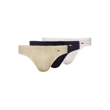 Kit Com 3 Cuecas Slip Zorba Cotton Confort Branco / Bege / Marinho
