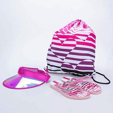 Chinelo Infantil Feminina Kidy Summer Pink E Branco