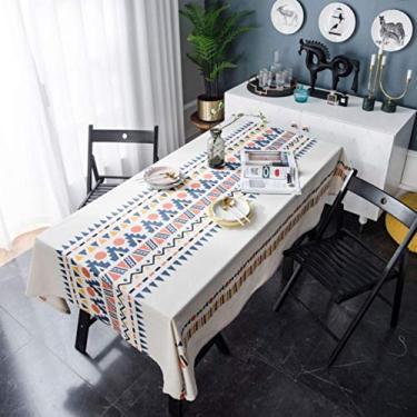 Imagem de Toalha de mesa retangular para móveis de mesa, estilo europeu, multicolorido, impressão, para cozinha, branca, 140 x 220 cm