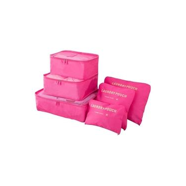 Kit 6 Sacos Bolsas Organizador Mala Roupas Bagagem Viagem Rosa
