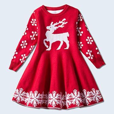 SWGG Vestido feminino camisola Natal Halloween cervo vestido de manga comprida vestido outono e inverno engrossado saia infantil roupas infantis novo Natal 100cm