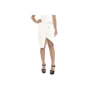 Saia Jeans Lemier Collection Cintura Alta Midi Off White Feminina