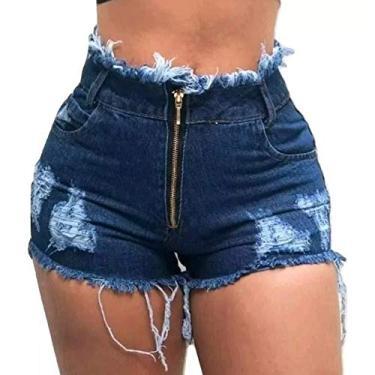 Short Jeans Feminino Cintura Alta Com Zíper Hot Pant (40)