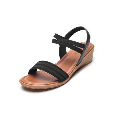 Sandália Usaflex Tiras Largas Preto Usaflex AD2106 feminino