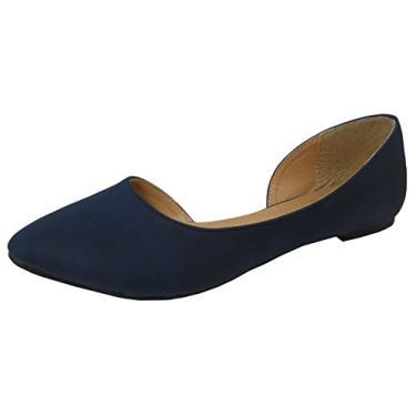 Sapatilha de balé feminina com bico fino da Cambridge Select, Navy Blue Nbpu, 8.5