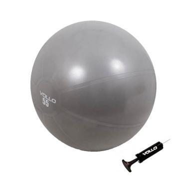 Bola Suiça De Pilates Yoga 55Cm Com Bomba De Ar Cinza Vollo
