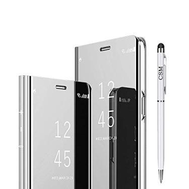 Capa flip espelhada para Galaxy A8 Plus 2018, capa com suporte galvanizado de luxo, capa inteligente com visualização clara com protetor de tela, película flexível de cobertura total para Samsung Galaxy A8 Plus 2018 - (prata)