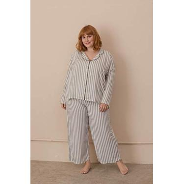 Pijama Clássico Listras Plus Size Cinza-54/56
