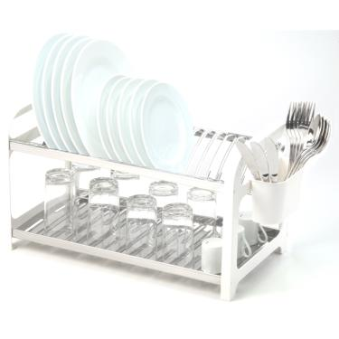 Imagem de Escorredor 20 Pratos Aço Inox Com Lateral Em Plástico Branco.
