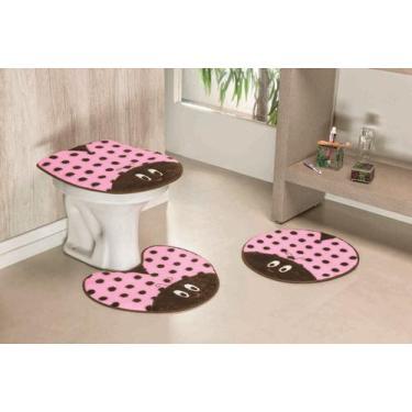 Imagem de Kit Tapete De Banheiro Antiderrapante Joaninha 03 Peças Rosa - Guga Ta