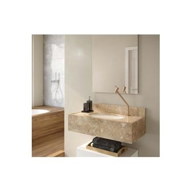 Pia Para Banheiro De Mármore Travertino Com Espelho E Cuba Branca Gaam