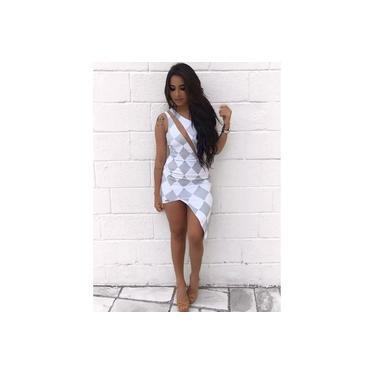 Vestido Miss Misses 1 ombro só Branco/Prata
