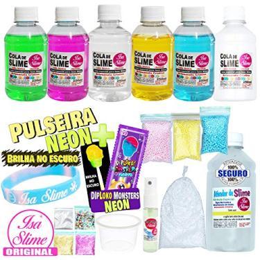 Imagem de Kit Completo Para Fazer Slime Colas Coloridas Transparentes + Pulseira e Pirulito Neon