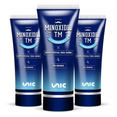 Kit 3 Cremes para Barba Minoxidil TM 120g Unicpharma