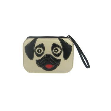 Bolsa Feminina Clutch Carteira de Mão Preto e Branco Feminina em Couro Legítimo Cachorro Pug Madamix
