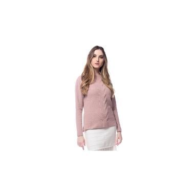 Blusa Logan Tricot Feminina Trança Grande Central Conforto Rosa Nude