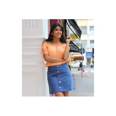 Saia Feminina Jeans Botão na Frente Azul Seiki 540096