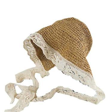 1 chapéu de palha de renda dobrável chapéu de praia para mulheres (cáqui)