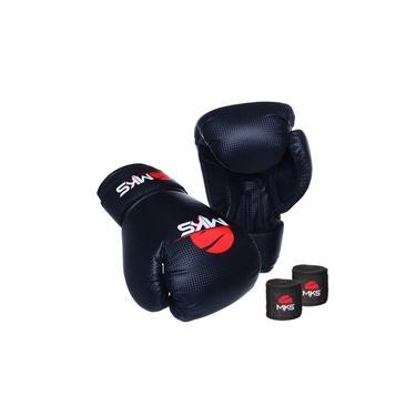 Kit Luva Boxe Muay Thai Prospect Mks Combat Preta com Bandagem Preta