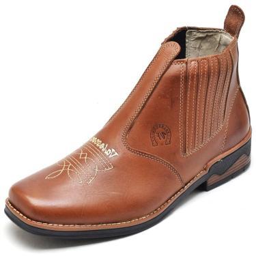Bota Botina em Couro Valesconi Calçados Caramelo  masculino