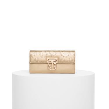 Bolsa Morena Rosa Carteira Texturizado Branco/Dourado Dourado  feminino