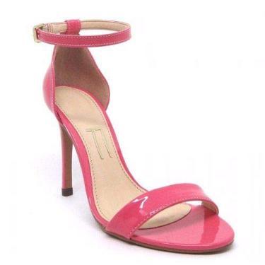 Sandália Rosa Pink Verniz Salto Alto Fino Agulha Tira