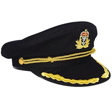 Boné de aba reta com bordado dourado e fecho de aba para festa do Capitão Iate do Almirante, Black 1, One Size