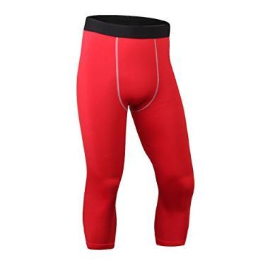 Imagem de ToXodo Calça legging masculina capri 3/4 de compressão esportiva para academia, corrida, secagem rápida, Vermelho, G