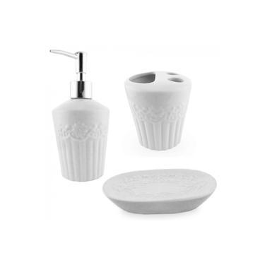 Imagem de Jogo de Banheiro em Ceramica com 3 Pecas Branco
