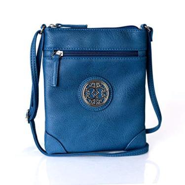 Imagem de Bolsa tiracolo de couro vegano com medalhão dourado pequena para festivais, Azul marinho, Small