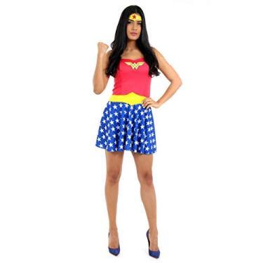 Imagem de Sulamericana Fantasias Mulher Maravilha Verao Adulto, M 42/44, Vermelho/Azul
